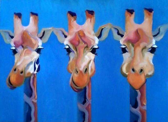 Giraffe's on Blue 36x48 Canvas