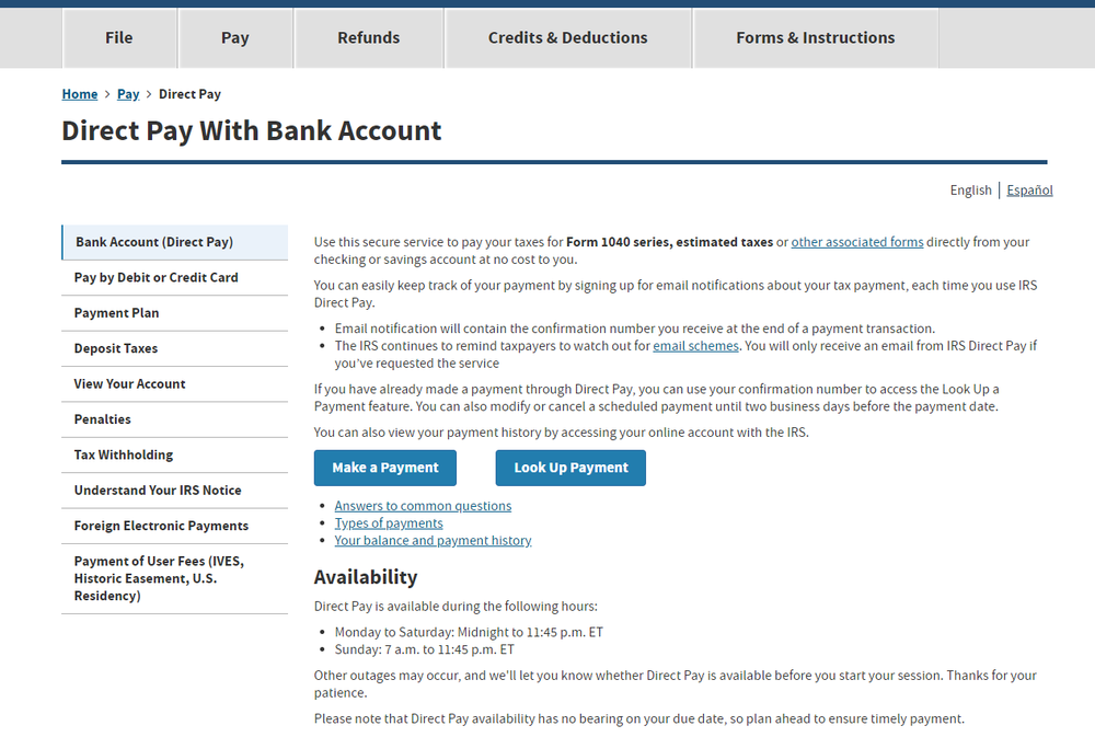 """Step 1 - Head tohttps://www.irs.gov/payments/direct-payand select """"Make a Payment"""""""