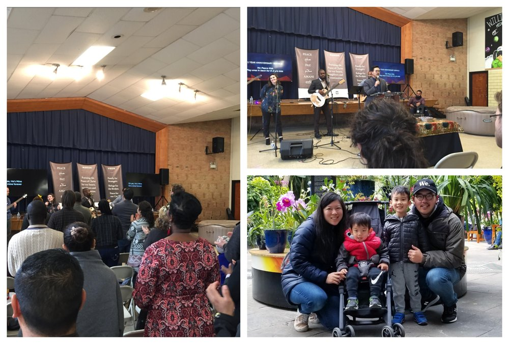 Pastor Eric So and his family (bottom right) celebrate the one-year anniversary of Peace City Church with their congregation in Riverdale, Maryland.