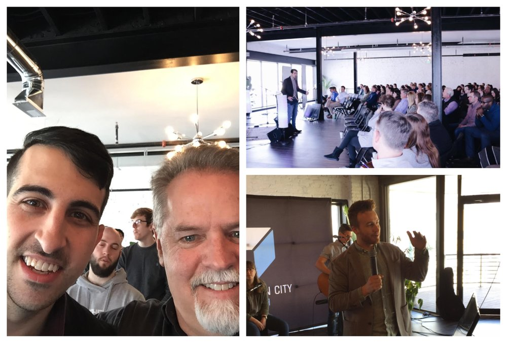 Pastor Adam Muthaseb and SENT Network Executive Director Mark McGeever (left) celebrate Redemption City Church's one-year anniversary in Baltimore, Maryland.