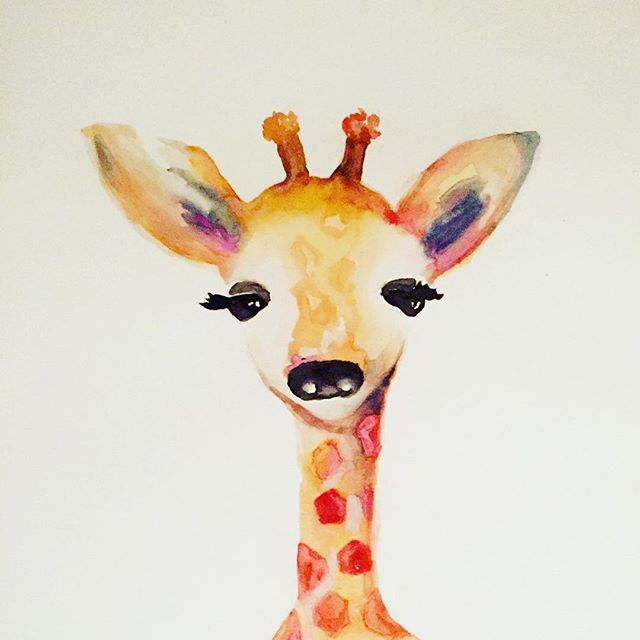This little cutie is ready to be shipped!  #art #watercolor #artistsoninstagram #giraffe #babygiraffe #babyroom
