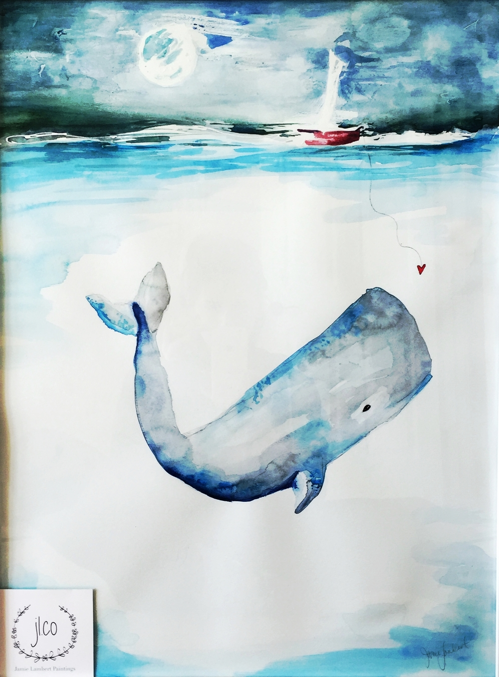 Baby Rhett's Whale - SOLD - Prints Available - 24 x 26 | watercolor on paper