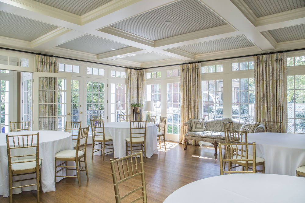 The sunroom, pictured here before an event, is often used to host receptions and gatherings.