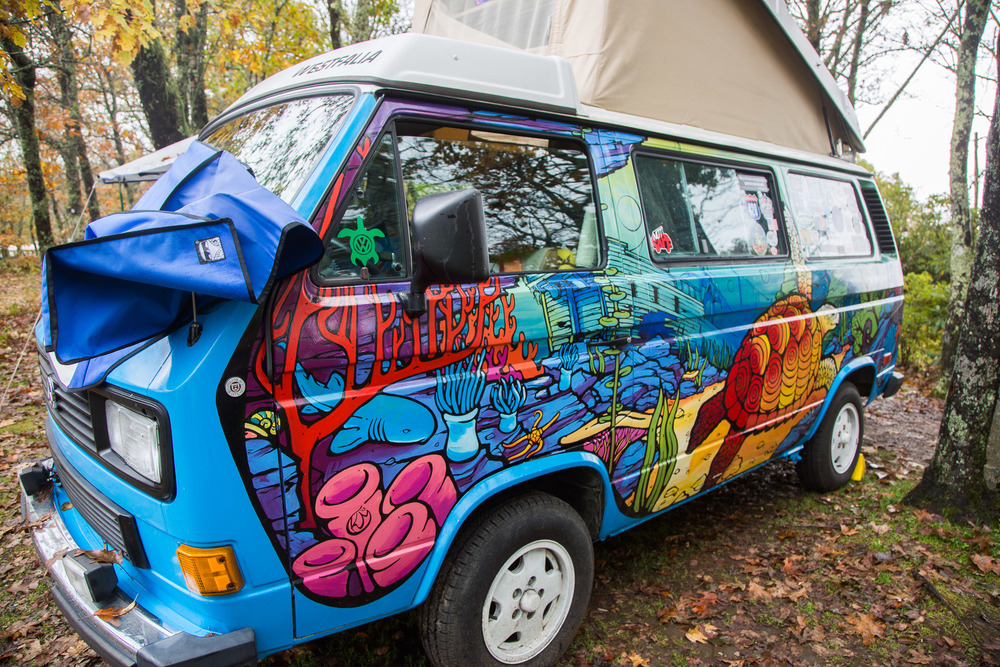 Sebastian, a 1986 Vanagon hand painted by Ken Mitchell, a popular VW Bus artist