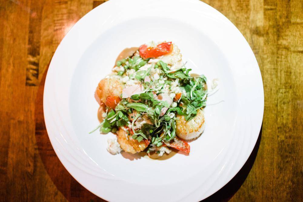 Free range veal chop, cream polenta & grilled cipollini onion & tomato