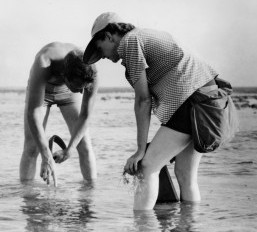 Rachel Carson, right, collects samples along the Atlantic coast. Photo: U.S. Fish and Wildlife Service
