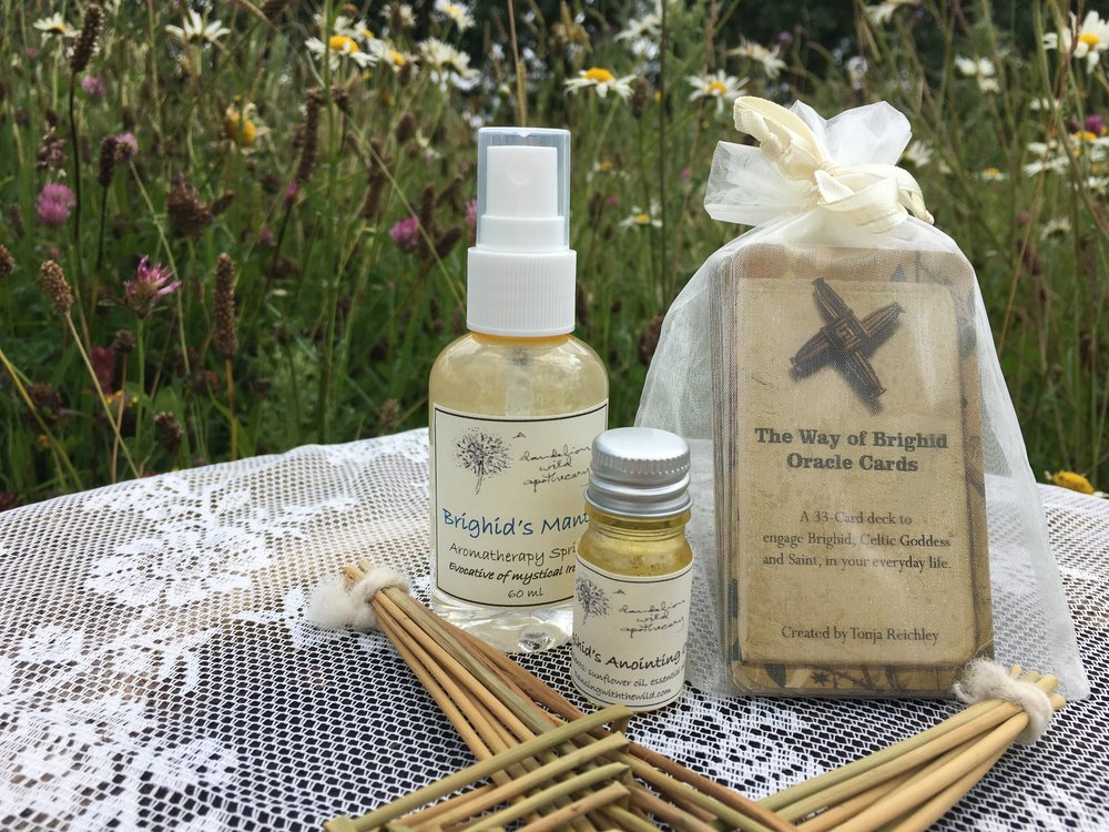 - Brighid's Mantle Aromatherapy Spritzer: inspired by Irish goddess and saint, Brighid, generously spritz this scent on your body and in your space to invoke Brighid's sacred protection.                              Brighid's Anointing Oil: inspired by Irish goddess and saint, Brighid, apply with intention to pulse points and wrists to invoke Brighid's sacred protection.               The Way of Brighid Oracle Cards: a 33-card deck to engage Brighid, Celtic goddess and saint, in your everyday life.