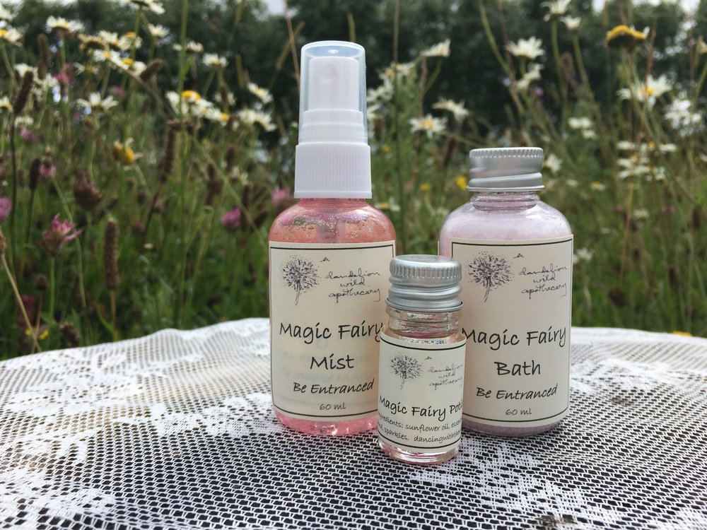 - Magic Fairy Mist Aromatherapy Spritzer: inspired by the fairies of Ireland generously spritz this sparkly scent on your body and in your space to invoke magic. Be entranced. Believe. Love.                                Magic Fairy Bath: inspired by the fairies of Ireland, add these sparkly aromatherapy salts to your bath to invoke magic. Be entranced. Believe. Love.         Magic Fairy Potion: inspired by the fairies of Ireland, apply with intention to pulse points and wrists to invoke. Be entranced. Believe. Love.