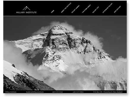 Created brand for new leadership foundation established in honor of Sir Edmund Hillary. Black and white palette reflects national colors of New Zealand, home of the Hillary Institute.