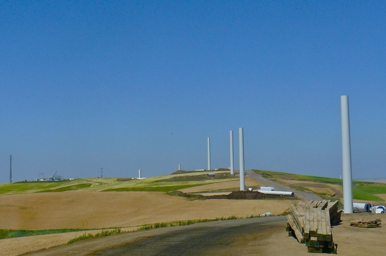 Wind project under construction, Naff Ridge, Whitman County, WA.