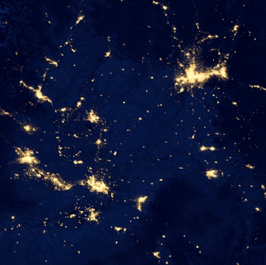 The Inland Northwest,  as seen by satellites at night . In the northeast of the image, Spokane and Coeur d'Alene. Move south from there through the scattered pinprick towns of the Palouse through the twin lights of Pullman and Moscow down to Lewiston-Clarkston. Go west from L-C through Pomeroy, Dayton, and Waitsburg to Walla Walla (the city shaped like a hatchet). Then west again to the crab-shaped Tri-Cities and curving along the crescent of light in the Yakima Valley. North, then, from Yakima, through Ellensburg and to the Wenatchee Valley. Then back east, skirting Moses Lake and across the dark distances to Spokane.   My main thought looking at this dark and abstracted map is that I love where I live.