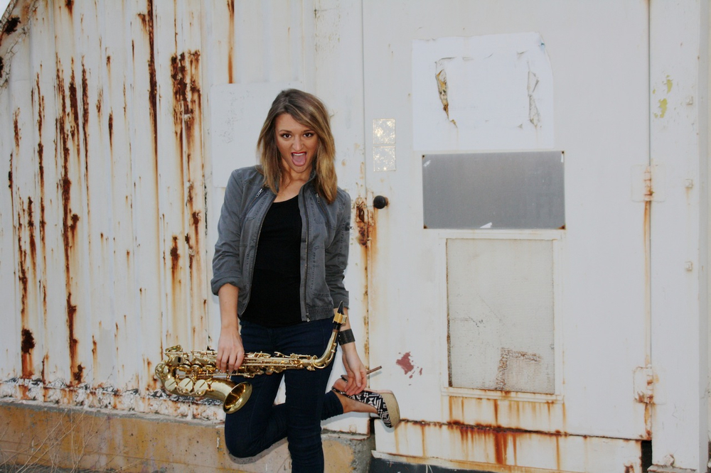 Female saxophone player Mandy Faddis in San Francisco - girl sax players