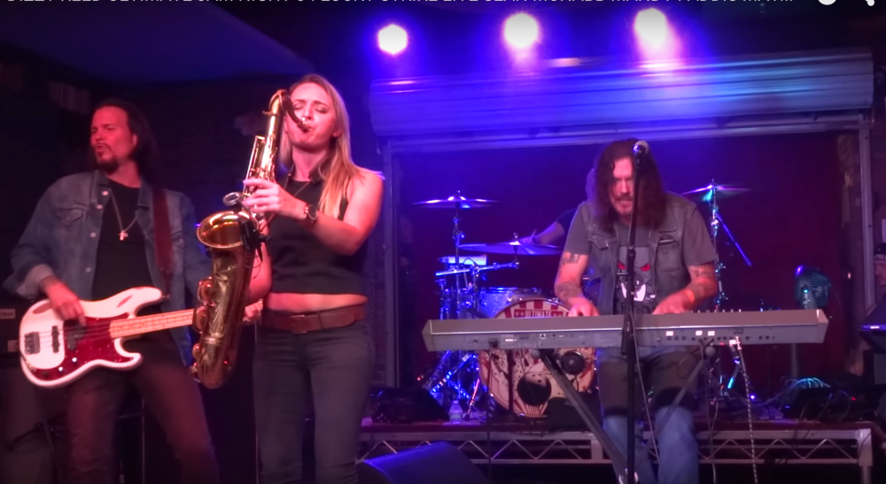Guns n Roses Dizzy Reed and sax player Mandy Faddis saxophone