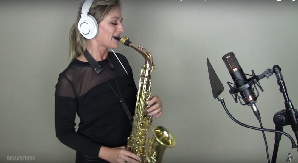 EDM and pop sax player based in Los Angeles Mandy Faddis - female sax player