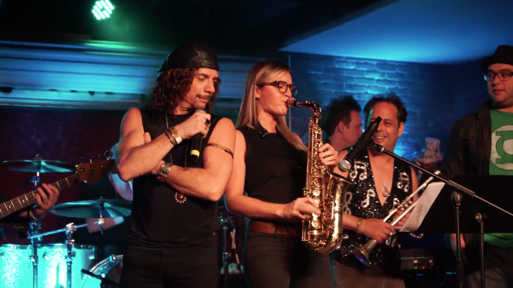 R&B funk live horns - saxophone player Mandy Faddis playing live rock