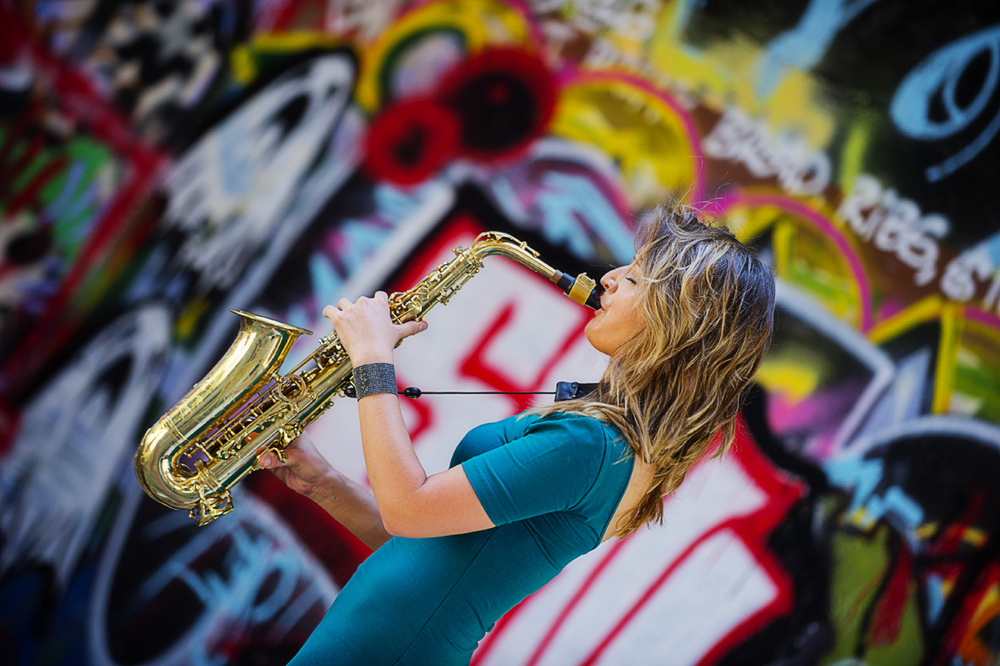 Female jazz saxophonist Mandy Faddis