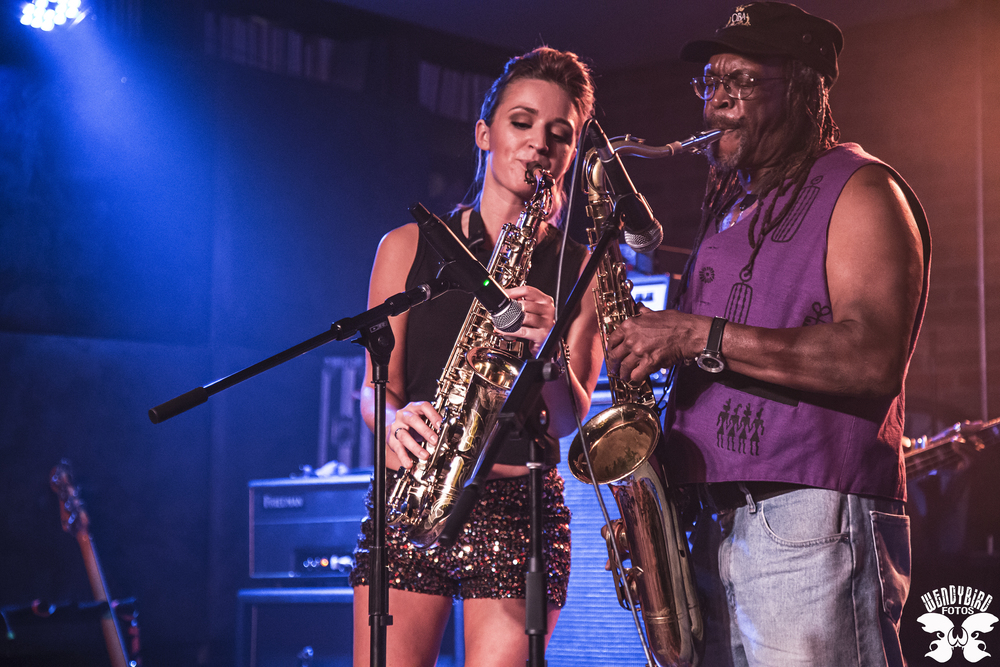 Sax player Mandy Faddis plays live rock in Hollywood