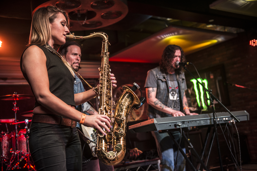 Guns n Roses Dizzy Reed and rock saxophone player Mandy Faddis