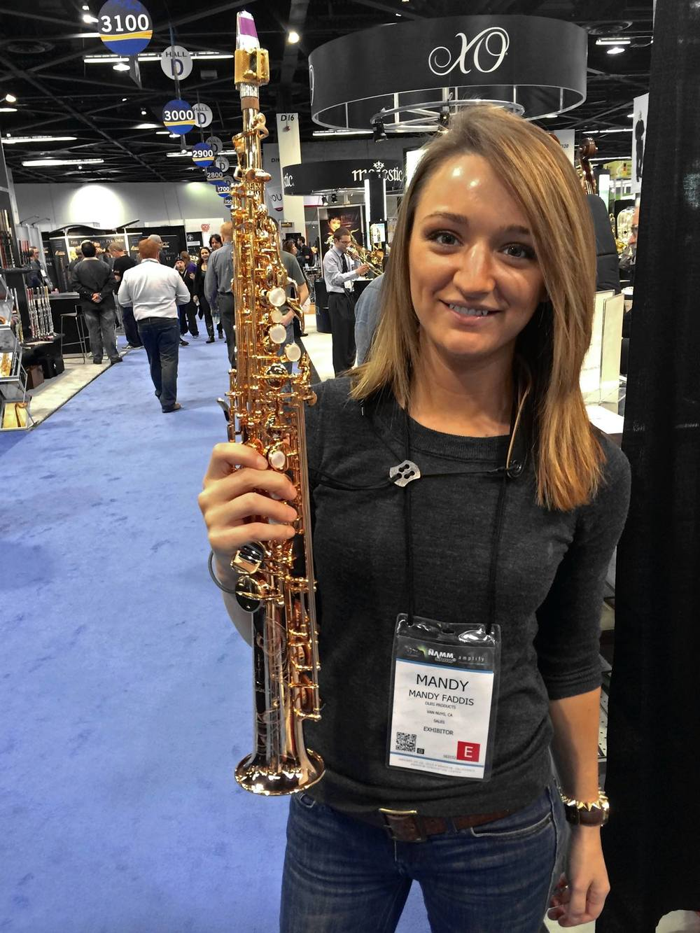 Girl sax player Mandy Faddis at NAMM convention
