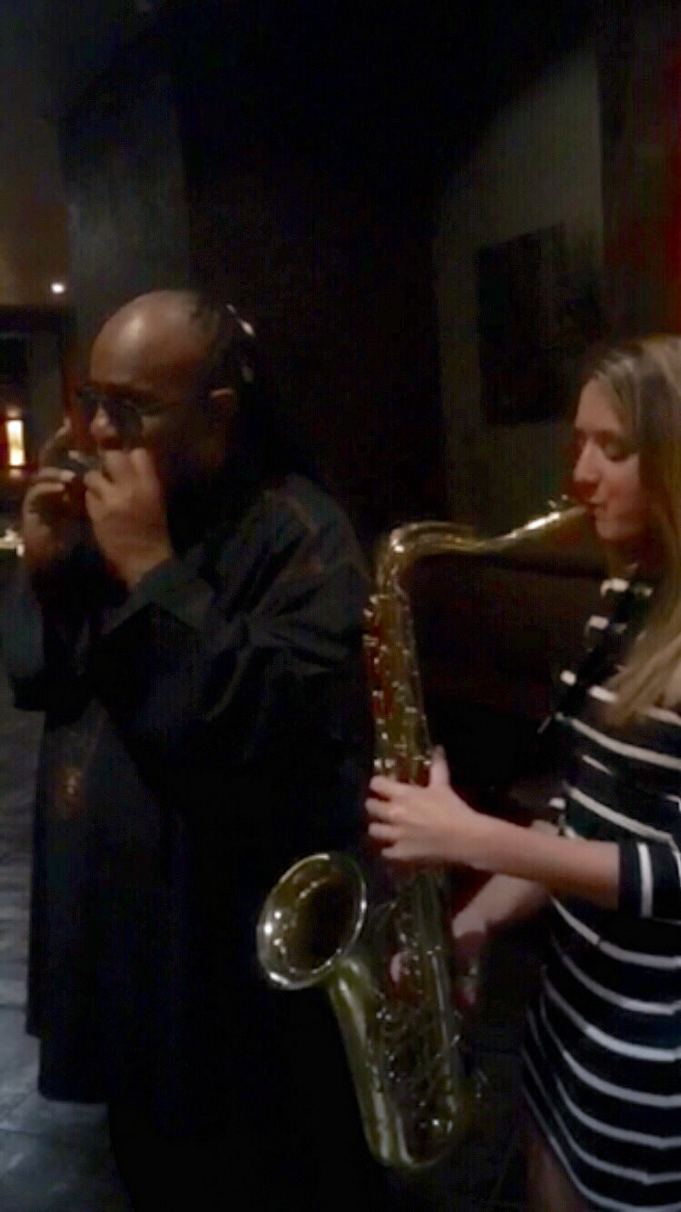 Stevie Wonder and sax player Mandy Faddis