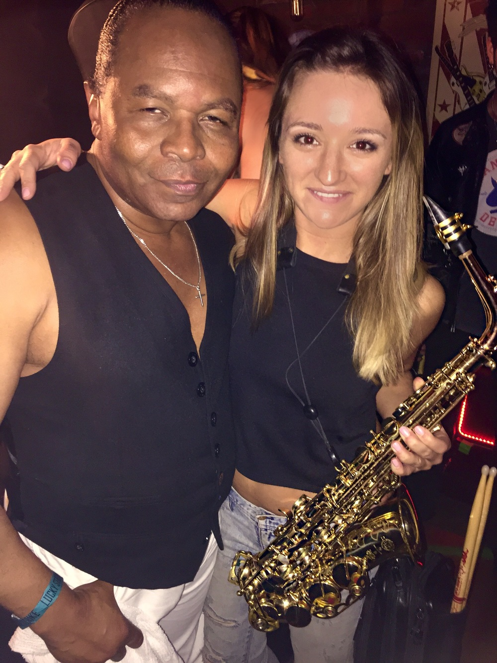Jonathon Sugarfoot Moffett and Mandy Faddis saxophone at Lucky Strike Live