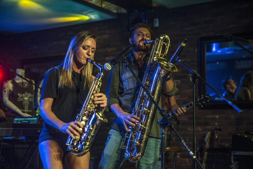 Live horns and saxophone funk and rock - Mandy Faddis and Mike Eyia
