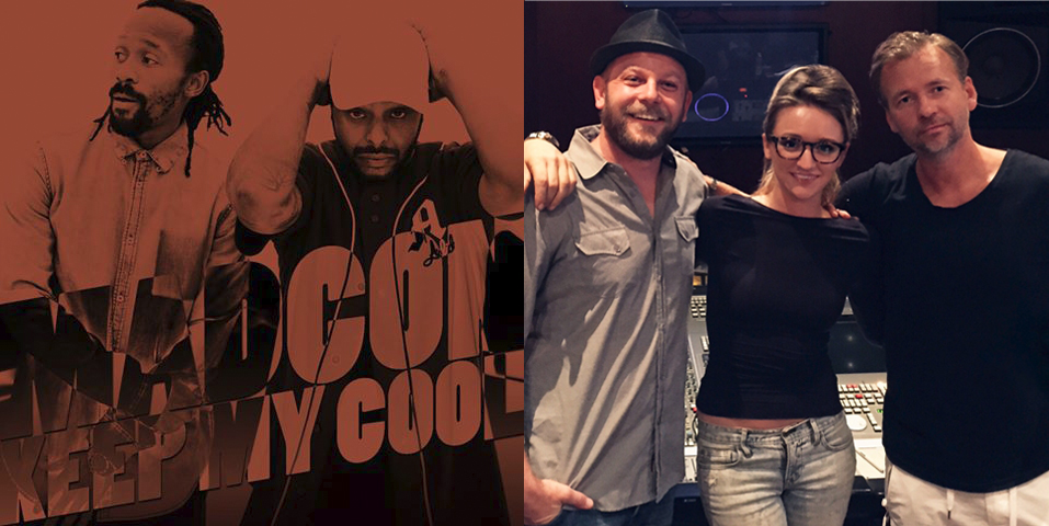 "Recording sax on the single ""Keep My Cool"" by Madcon, released October 9th 2015.  From left to right: producer Johnny Powers Severin, Mandy Faddis, Producer Jimmy Joker."
