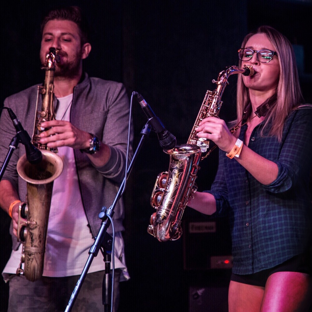 Mike Eyia saxophone and Mandy Faddis saxophone
