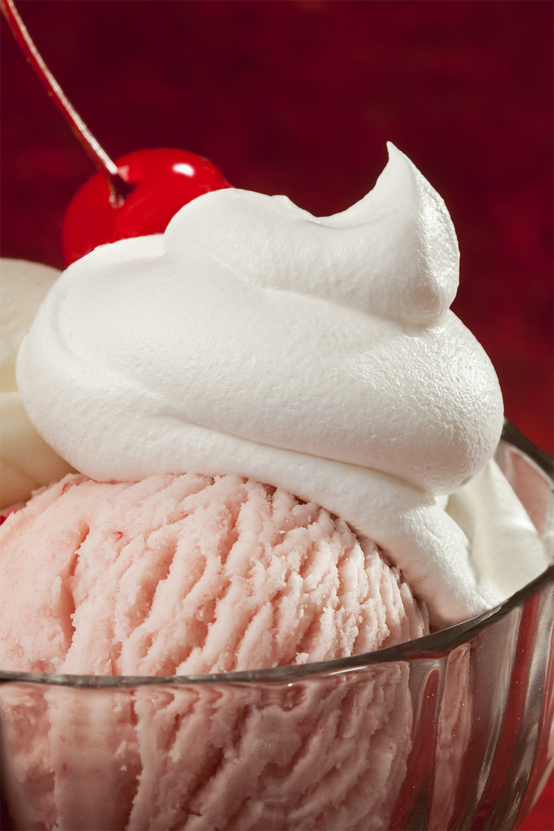 Food Photography - Ice Cream with Whipped Cream and Cherry