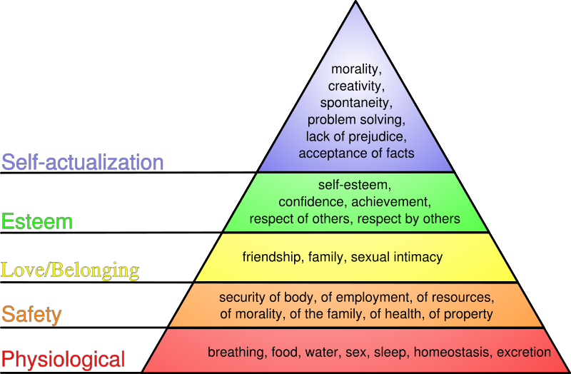 Maslow's Hierarchy of Needs start with the physiological.