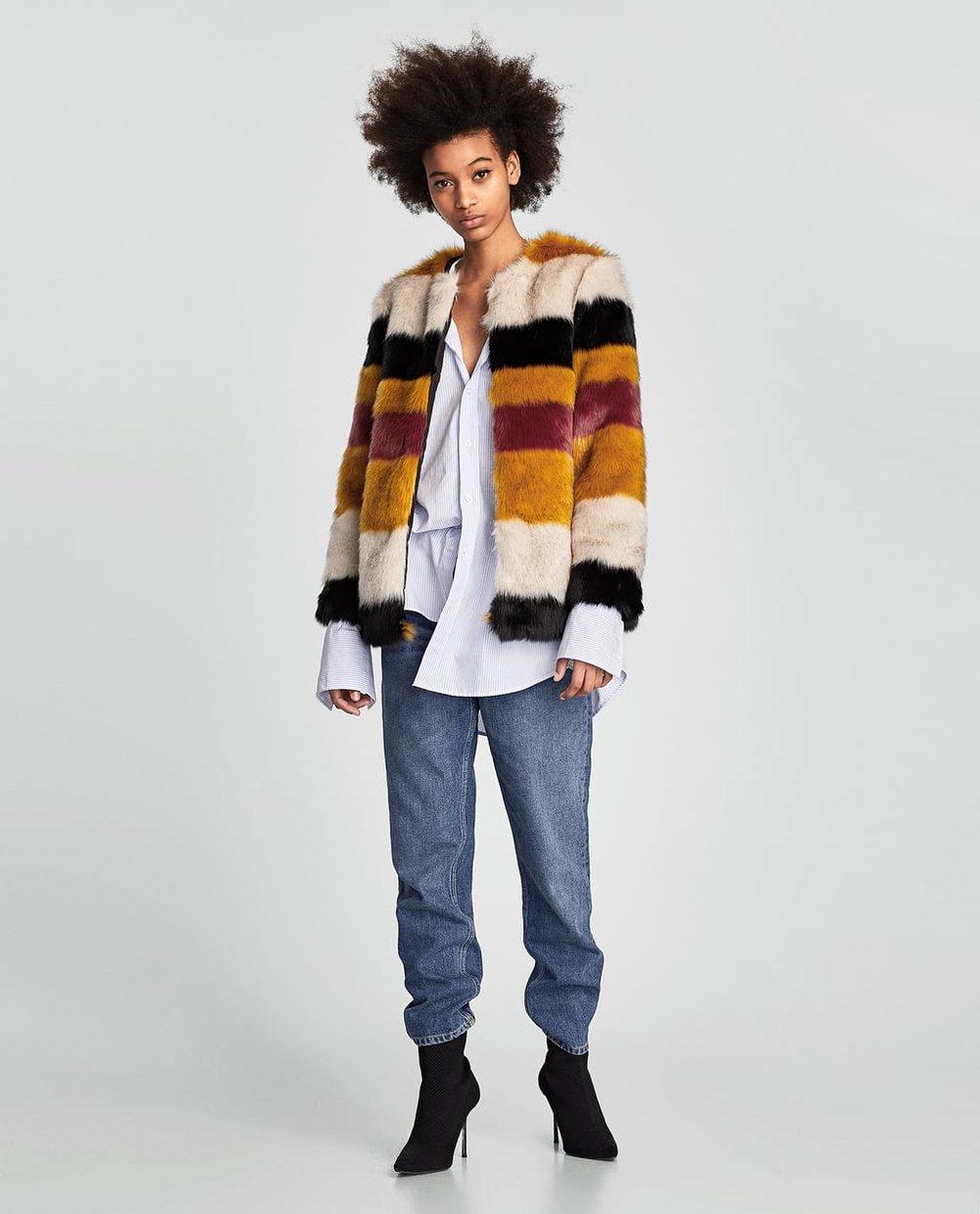 1. Zara Contrast Fur