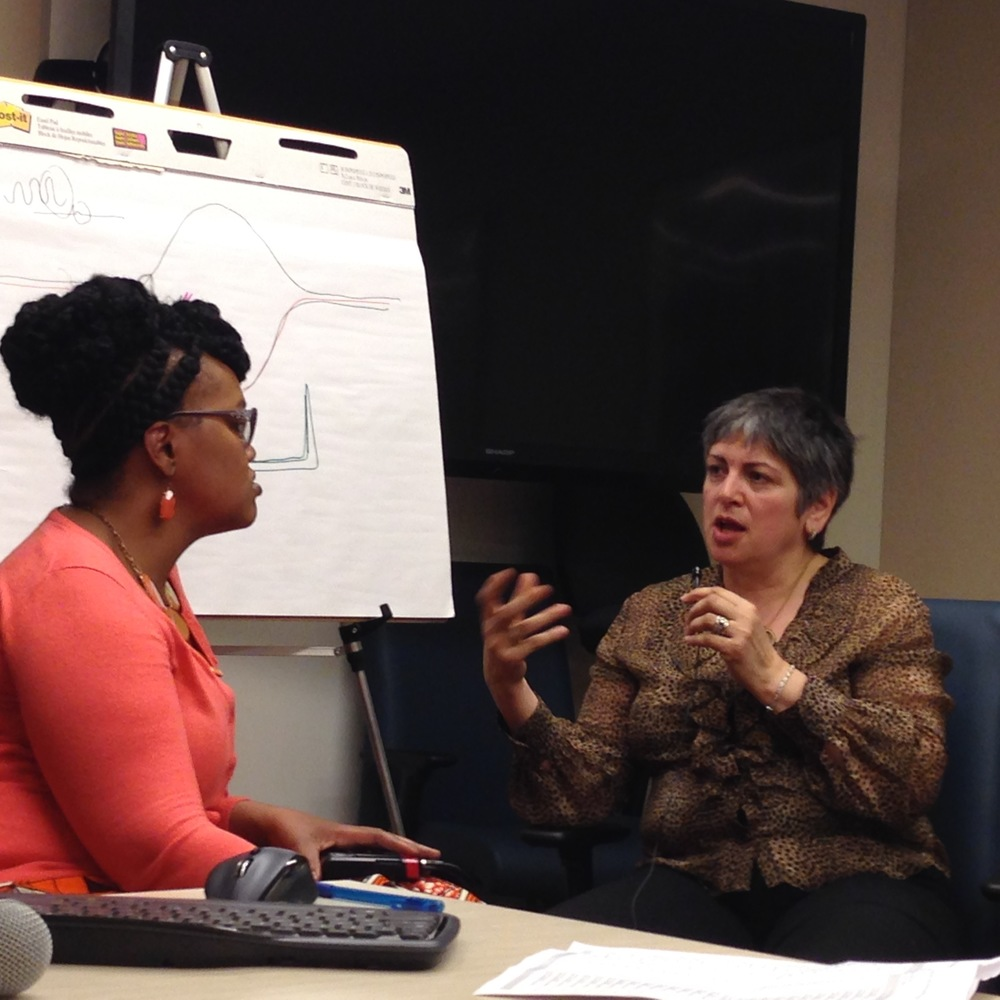 Maria Arpa demonstrates the Dialogue Road Map with a participant, Roslyn Morrison, in a seminar on Healing and Resistance, April 2016