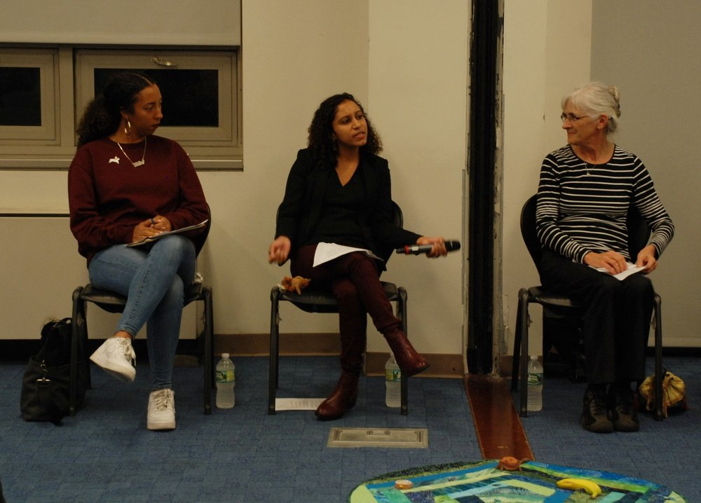 Whitney Richards-Calathes, Melody Benitez, and Kay Pranis speak at Building a Restorative Justice Movement Grounded in Racial Justice, October 2016