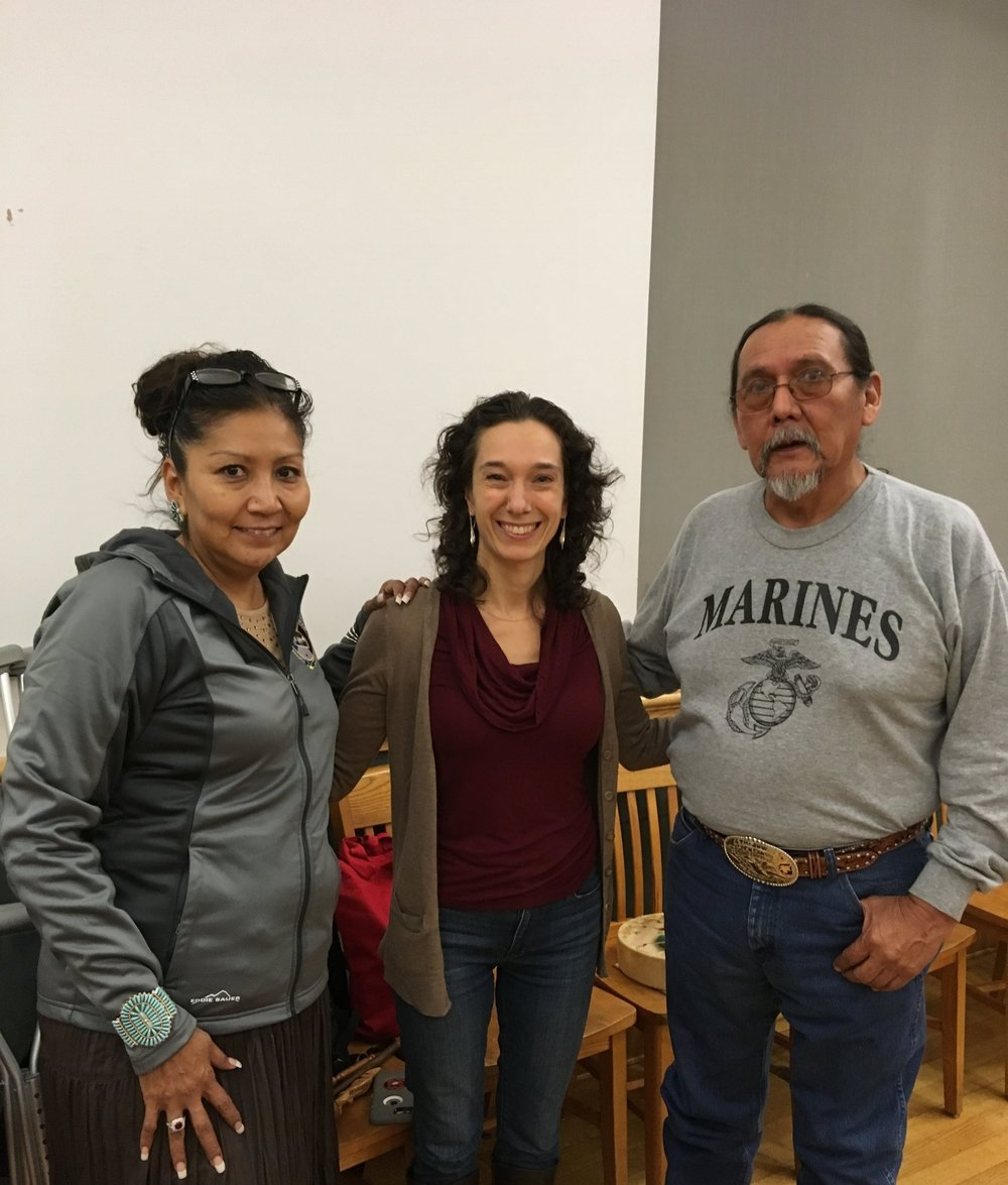 Mika Dashman with Sara Whitehorse and Ray Deal at the Redhook Community Justice Center Peacemaking Training, November 2017