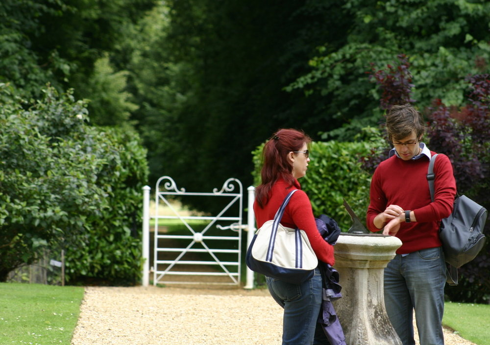 At Kingston Lacy with H in 2007. H is checking his watch against the sundial.