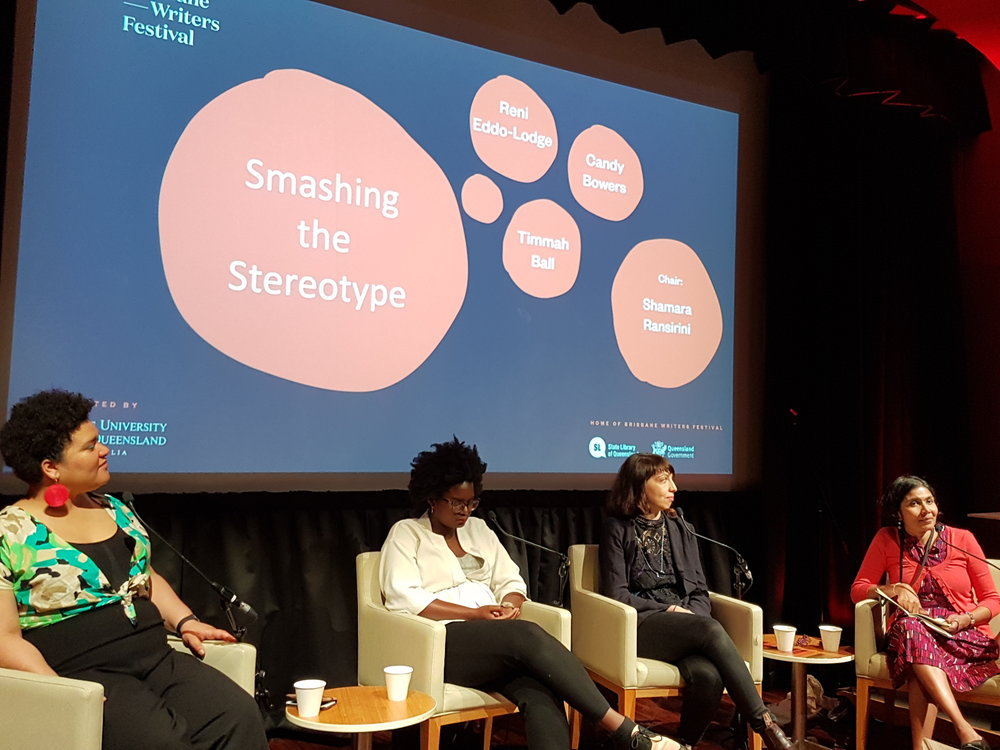 Lecturer & tutor Shamara Ransirini (far right) chairing a panel on intersectionality at the Brisbane Writers Festival.