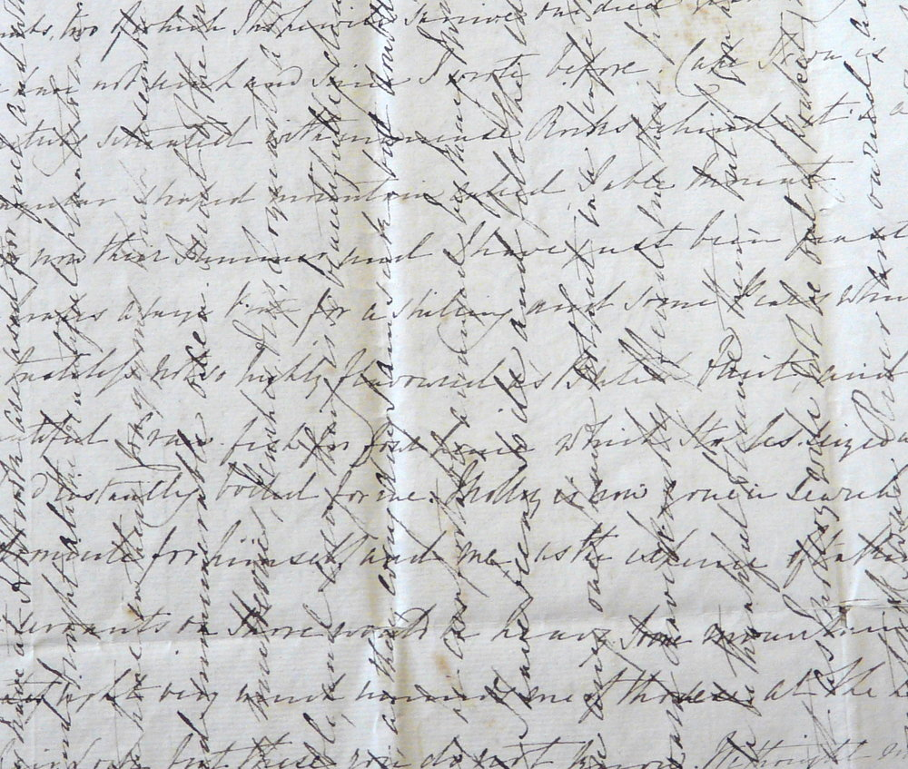 An example of Georgiana's crossed letters.