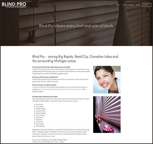 SEO and Site Redesign for New Business, Blind Pro - Ultrasonic Blind Cleaning in Big Rapids, MI