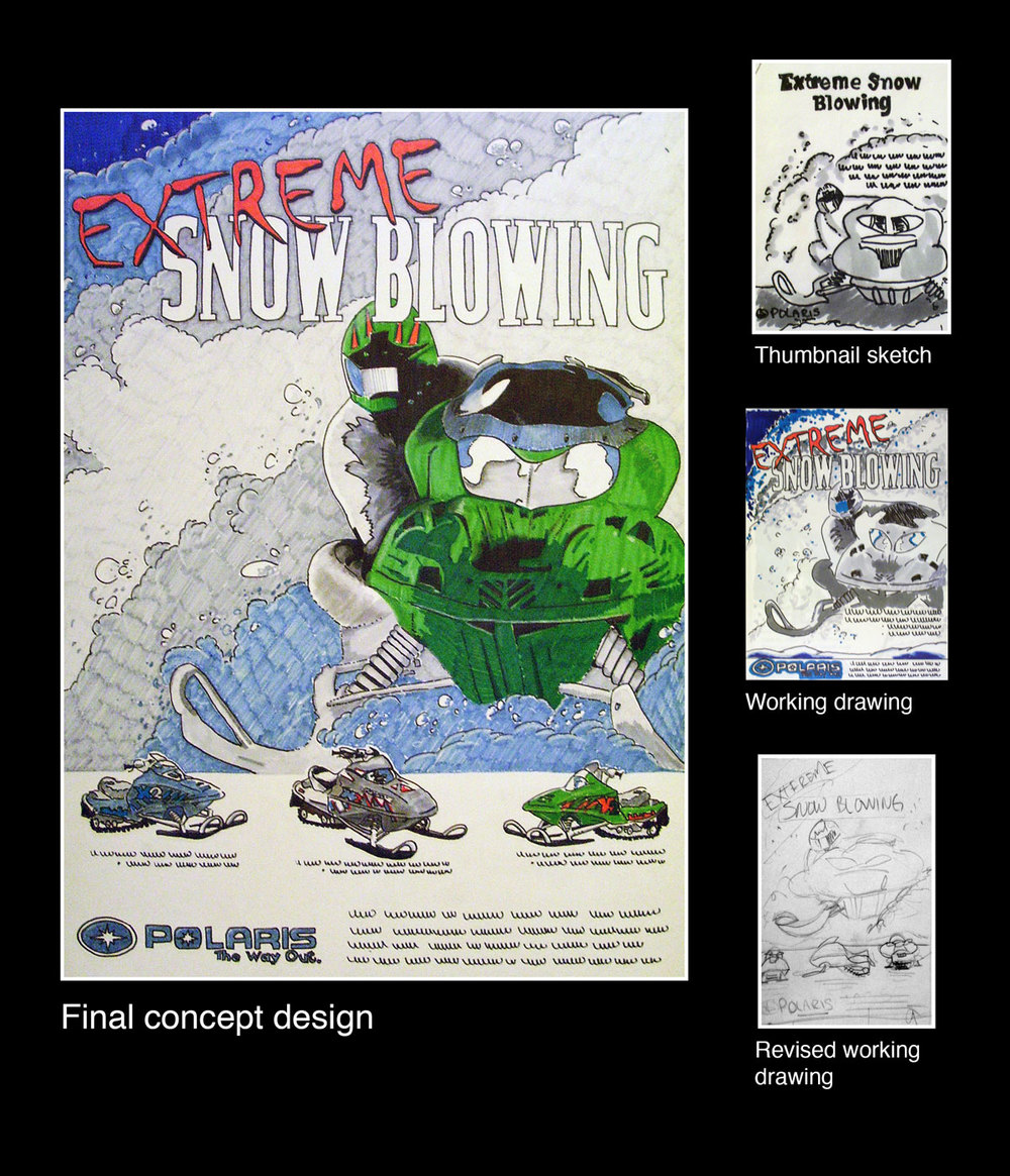 A concept promotional poster using markers and colored pencil for the snowmobile manufacture Polaris