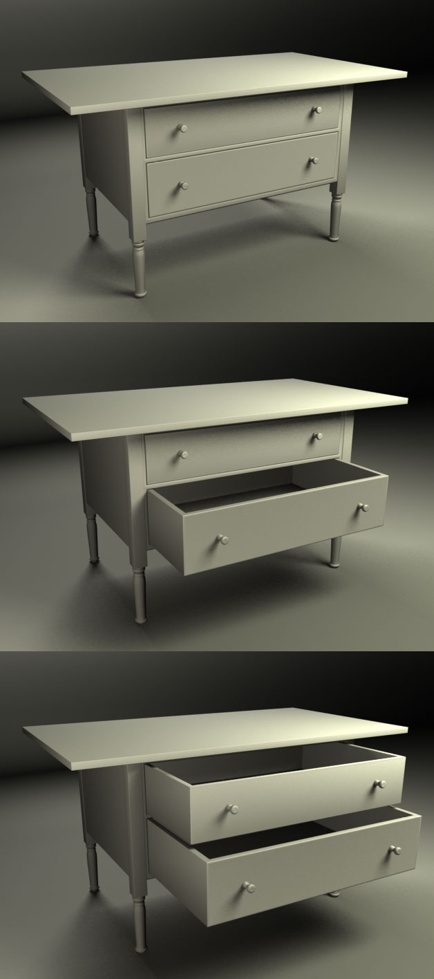3D model of Shaker Workbench renderswith wood texture removed.