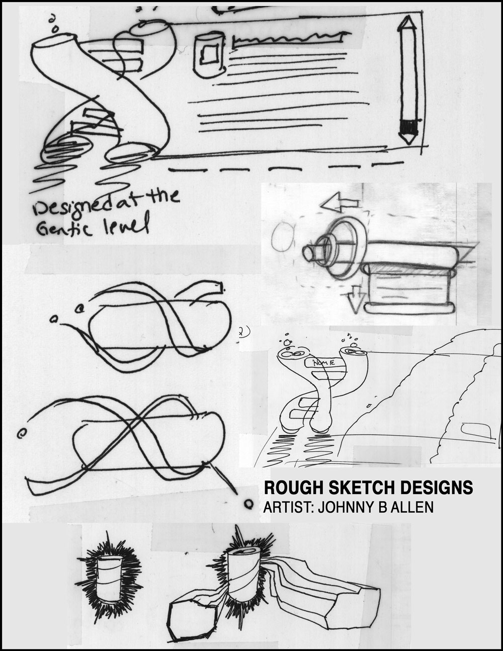 Rough pencil and ink concept sketch designs by Johnny B Allen