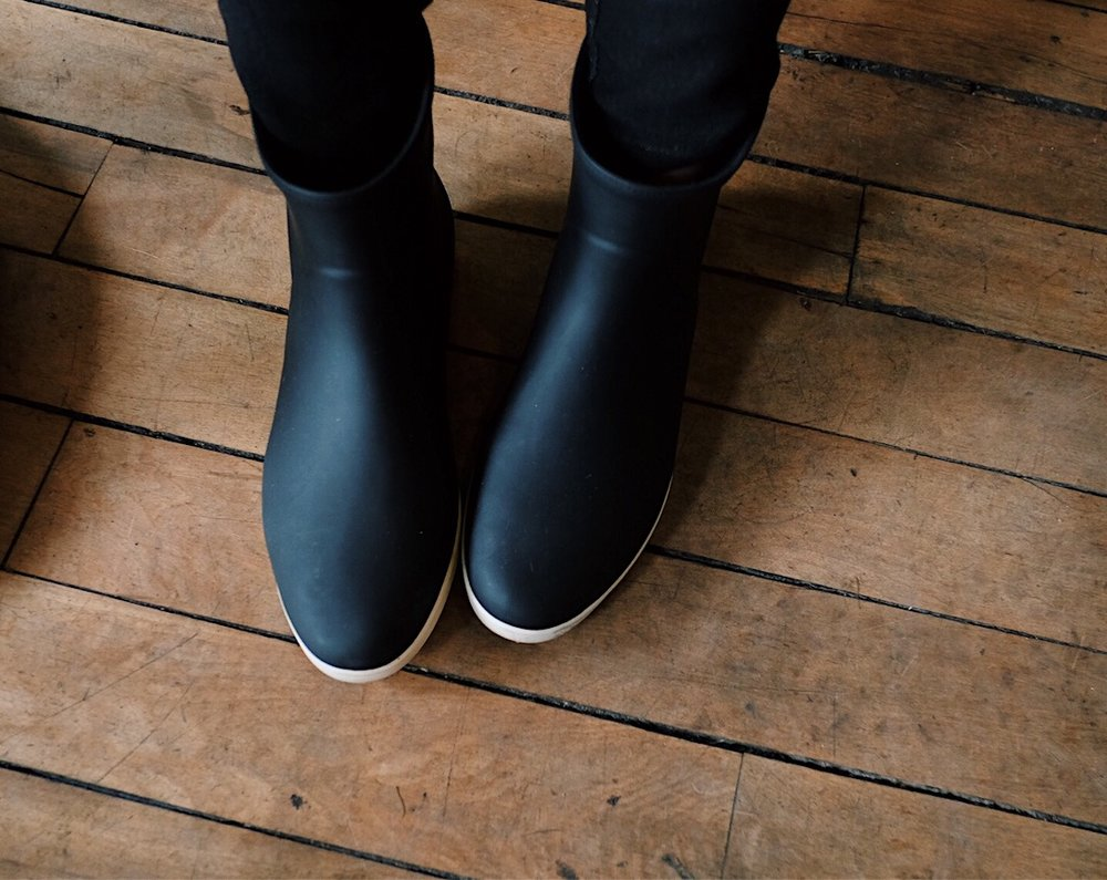 ethical black ankle rain boots