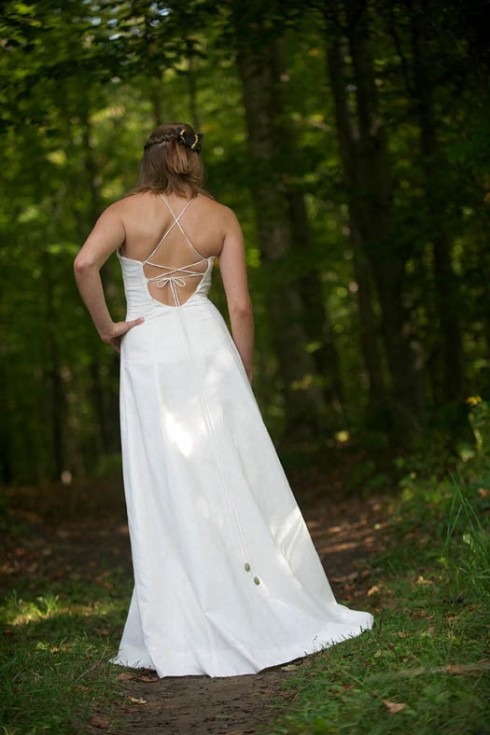 bohemian wedding dress that's sustainably made