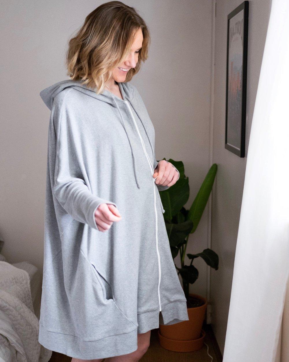 long grey hoodie