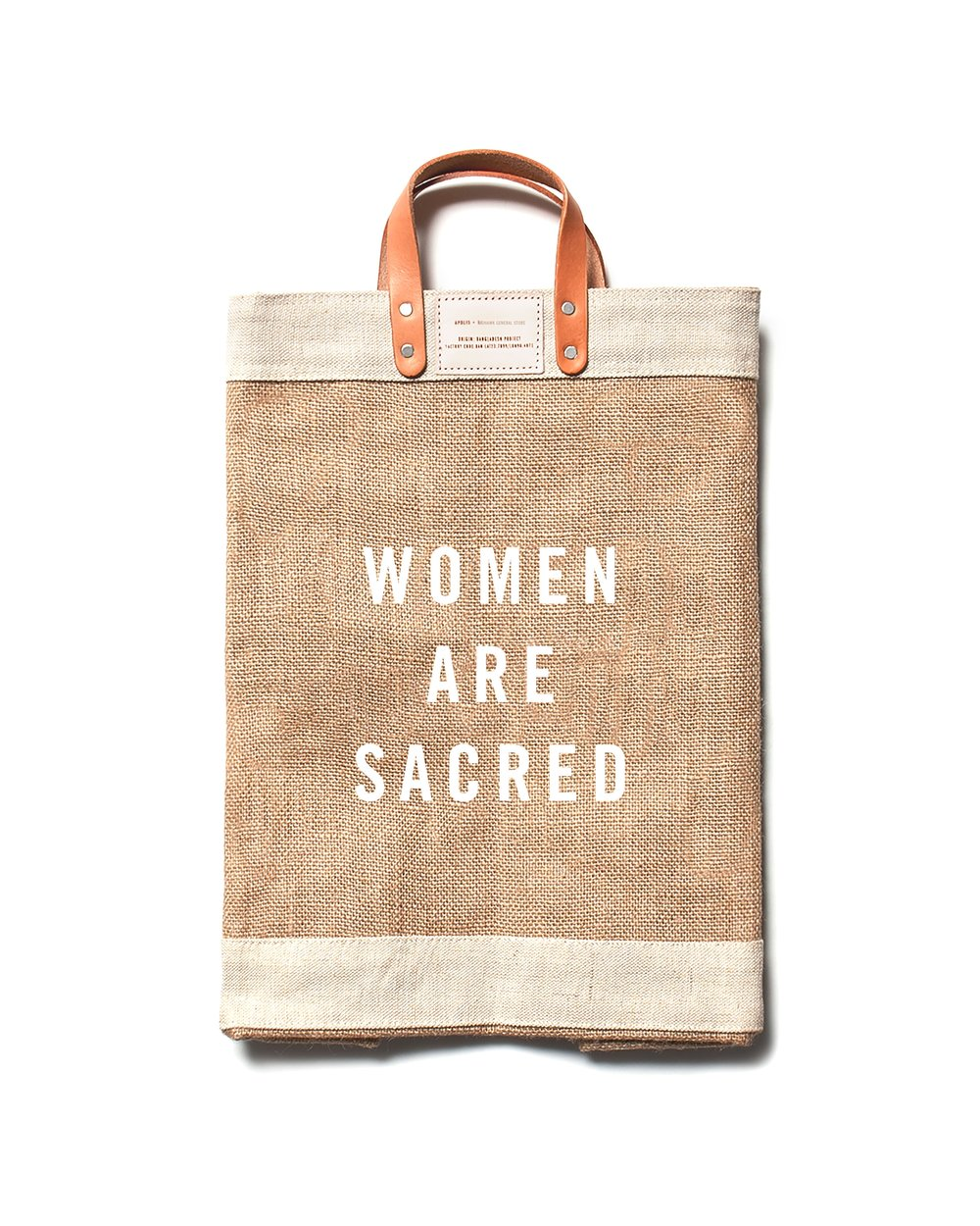 MARKET BAG | $68 -  As featured in the 2017 LA Times Gift Guide, the WOMEN ARE SACRED market bag collaboration between socially conscious brands Our Sacred Women and Apolis is timely for those wanting to give a gift with substance. The powerful message aside, these 100% jute fiber, waterproof bags are handcrafted in Bangladesh by a growing female artisan cooperative, and 10% of proceeds from each sale is donated to The Breathe Network to support survivors of sexual violence. This is just one of several signature products by Our Sacred Women - a movement to restore women to a place of reverence through specialty gifts that help women feel seen, valued, and honored.