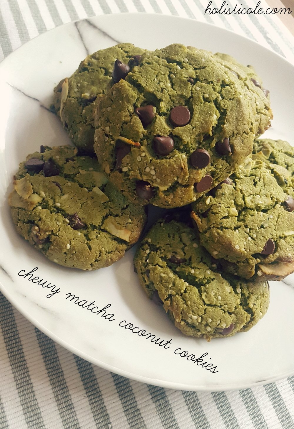 chewy matcha coconut cookies