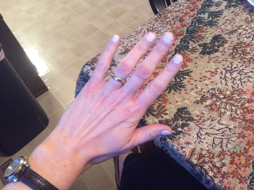 This is the nail polish on hands that look more and more like my mom's hands.