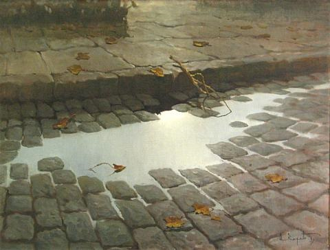 Cobblestone street with puddle and leaves by Armando Repetto
