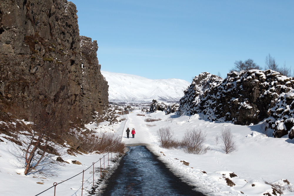 Walking between the American and Eurasian tectonic plates in Þingvellir National Park