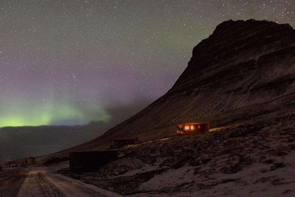 Northern lights over our Airbnb on Mt. Kirkjufell